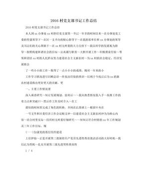 2016村党支部书记工作总结