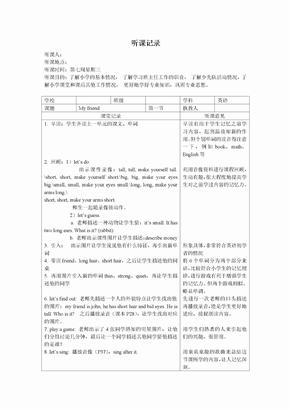 2015年小学英语听课记录及评课[1]