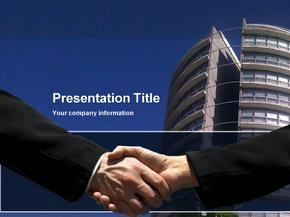 蓝色经典握手主题商务合作ppt模板