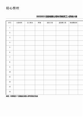 新员工入职统计表格模板.doc