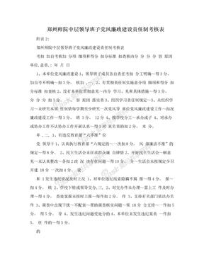 郑州师院中层领导班子党风廉政建设责任制考核表