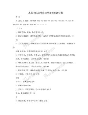 惠贞书院运动会精神文明奖评分表