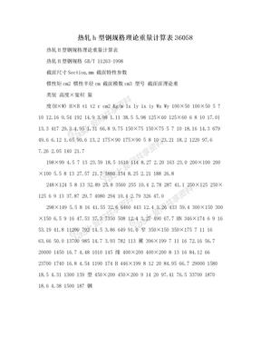 热轧h型钢规格理论重量计算表36058