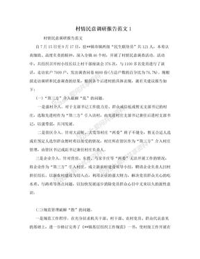 村情民意调研报告范文1