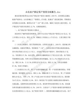 山东农户固定资产投资分析报告.doc