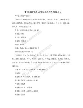 中国国民党历届常委会机构及组成人员