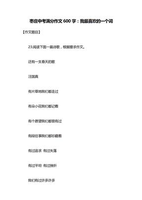 枣庄中考满分作文600字:我最喜欢的一个词