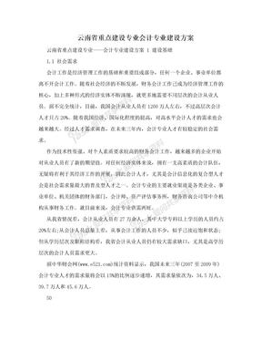 云南省重点建设专业会计专业建设方案