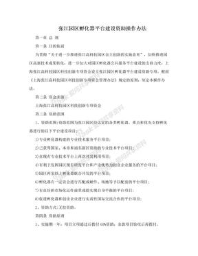 张江园区孵化器平台建设资助操作办法