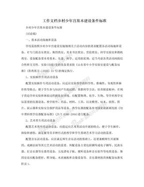 工作文档乡村少年宫基本建设条件标准