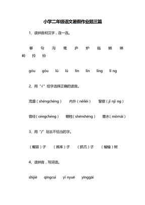小学二年级语文暑假作业题三篇