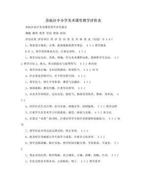 余杭区中小学美术课堂教学评价表