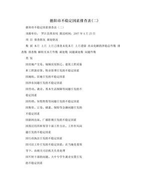 德阳市不稳定因素排查表(二)