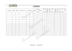 档案管理人事资料表