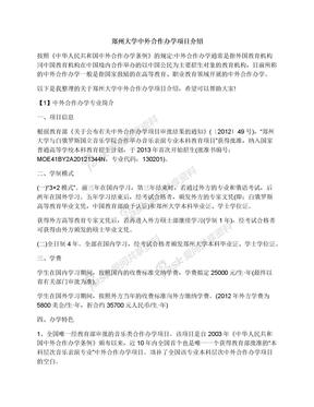 郑州大学中外合作办学项目介绍