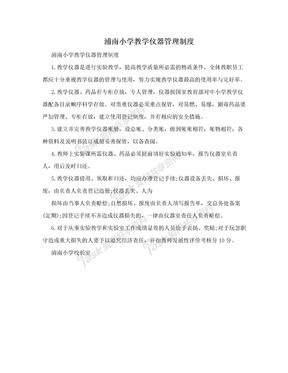 浦南小学教学仪器管理制度