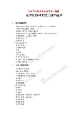 2011电子设计元器件清单