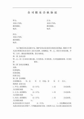 公司股东合伙协议