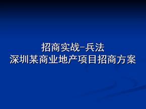 招商实战兵法深圳某商业地产项目招商方案