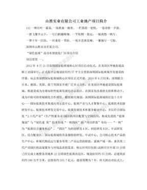 山胜实业有限公司工业地产项目简介