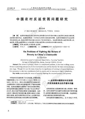 中国农村反返贫困问题研究