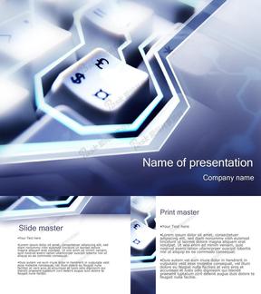 货币符号键盘-商务PPT模板