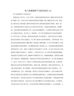 电工高级技师个人技术总结.doc