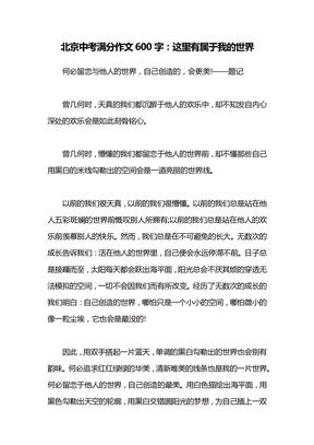 北京中考满分作文600字:这里有属于我的世界