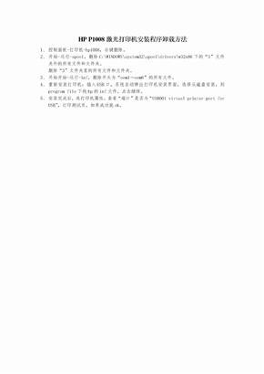 HP P1008激光打印机安装程序卸载方法