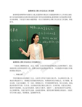 新教师见习期工作总结及工作思路