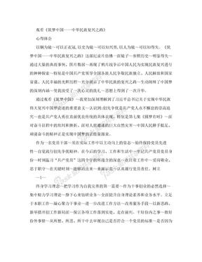 《筑梦中国—中华民族复兴之路》纪录片观后感2