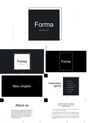 58页黑白对比商业图文行业通用ppt模板