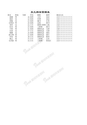 员工档案管理表
