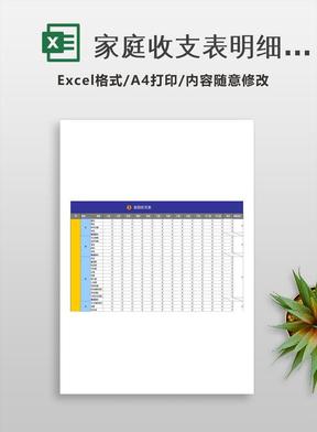 家庭收支表明细表-衣食住行-Excel图表模板