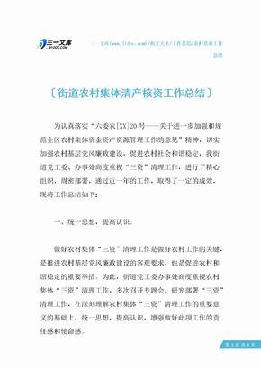 【农村农业工作总结】街道农村集体清产核资工作总结