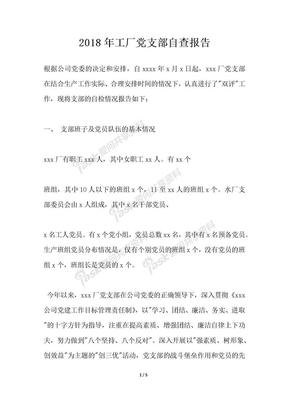 2018年工厂党支部自查报告